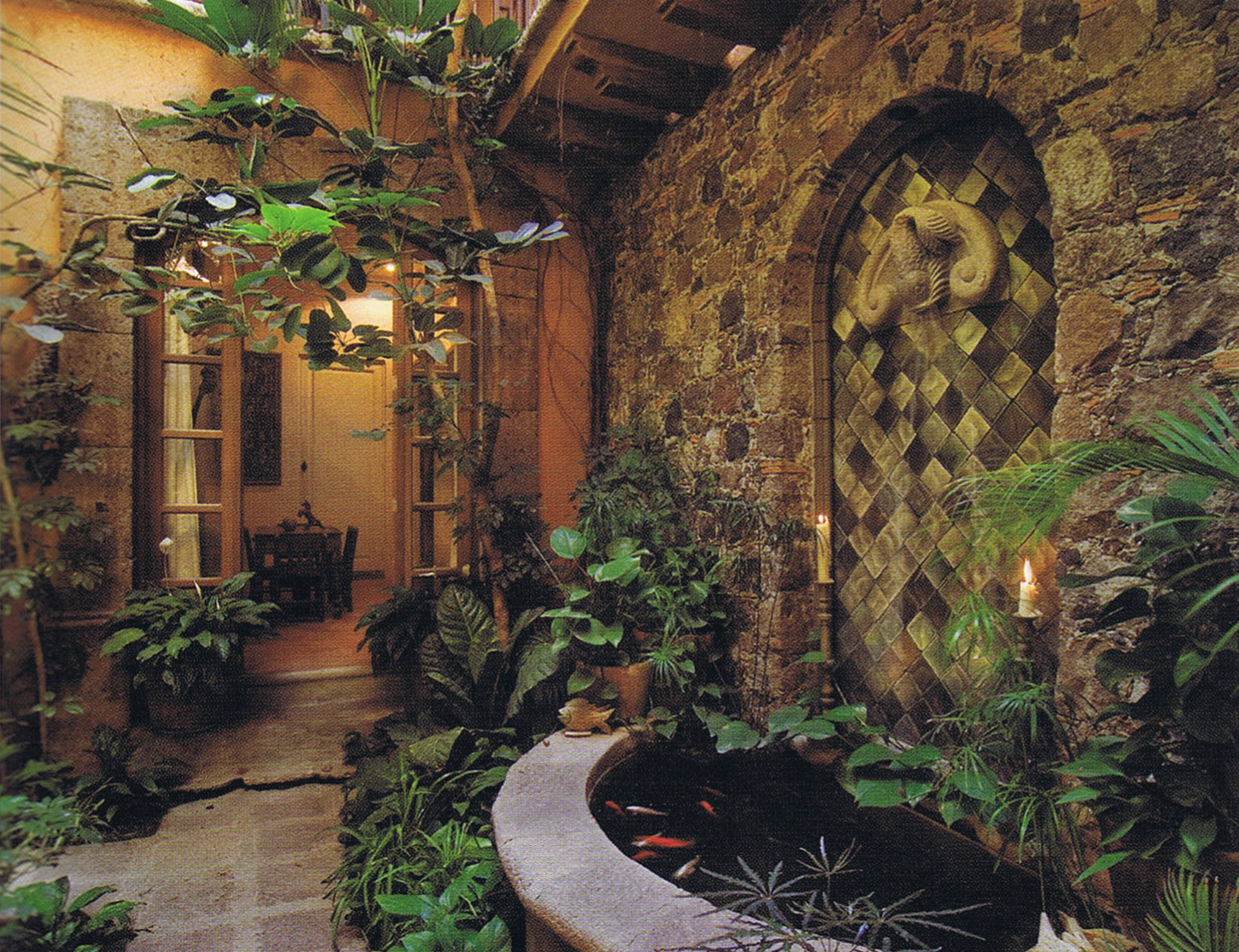 Spanish colonial elements architecture design for Home interior garden